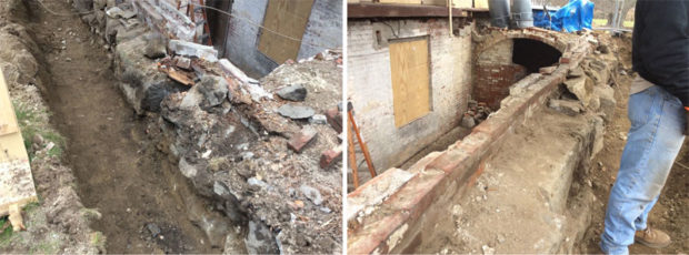 Excavation of the south porch foundation reveals the extent of rebuilding required